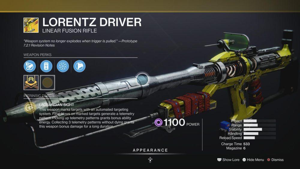 piloto lorentz destiny 2