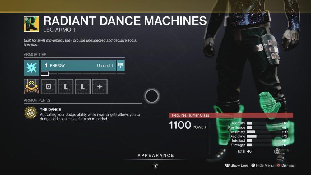 Destiny 2 radiantes máquinas de baile