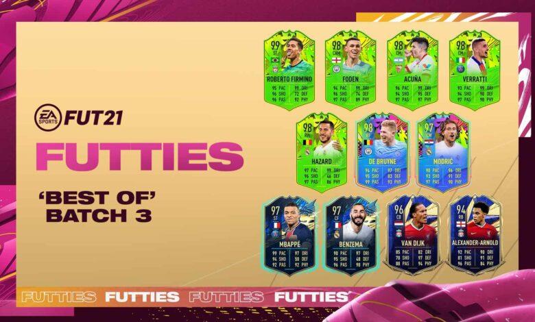 FIFA 21: Batch 3 Best of FUTTIES ahora está disponible en paquetes