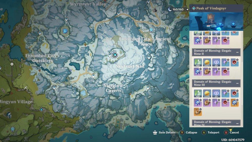 Mapa errante de Genshin Impact Blizzard