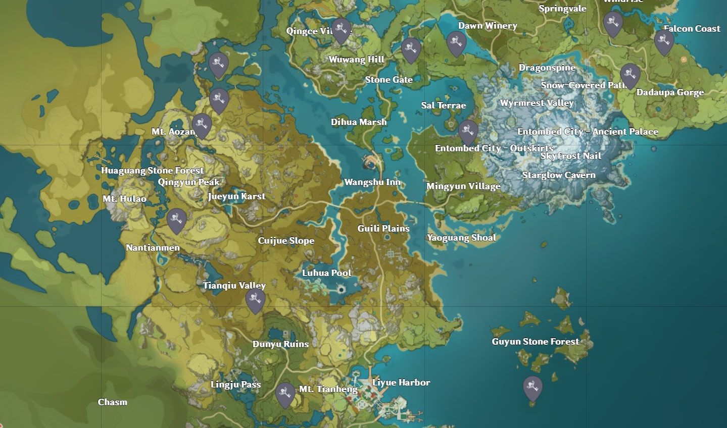 Mapa del Santuario Profundo de Liyue de Genshin Impact