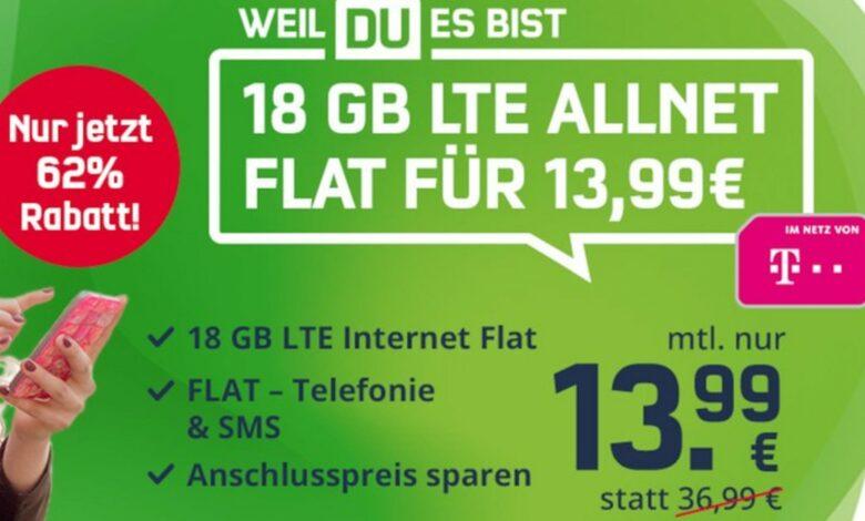 Tarifa de telefonía móvil Telekom a muy buen precio: tarifa plana y 18 GB por solo 13,99 €