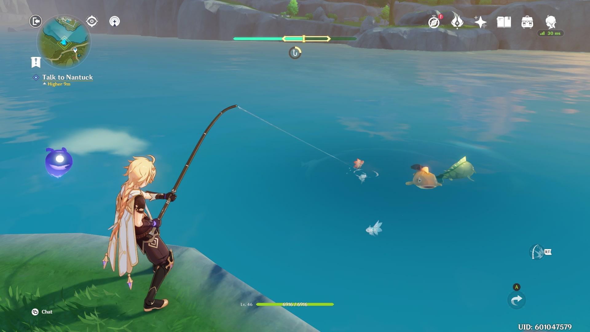 Mini juego de pesca de impacto Genshin