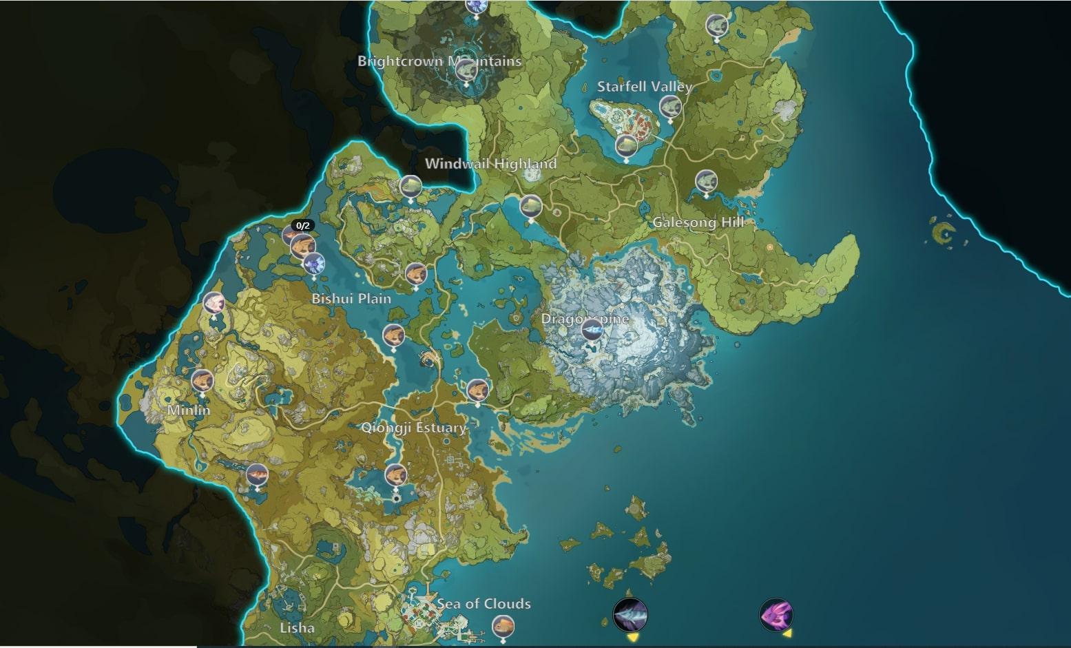 Mapa de pesca de impacto de Genshin Mondstadt Liyue