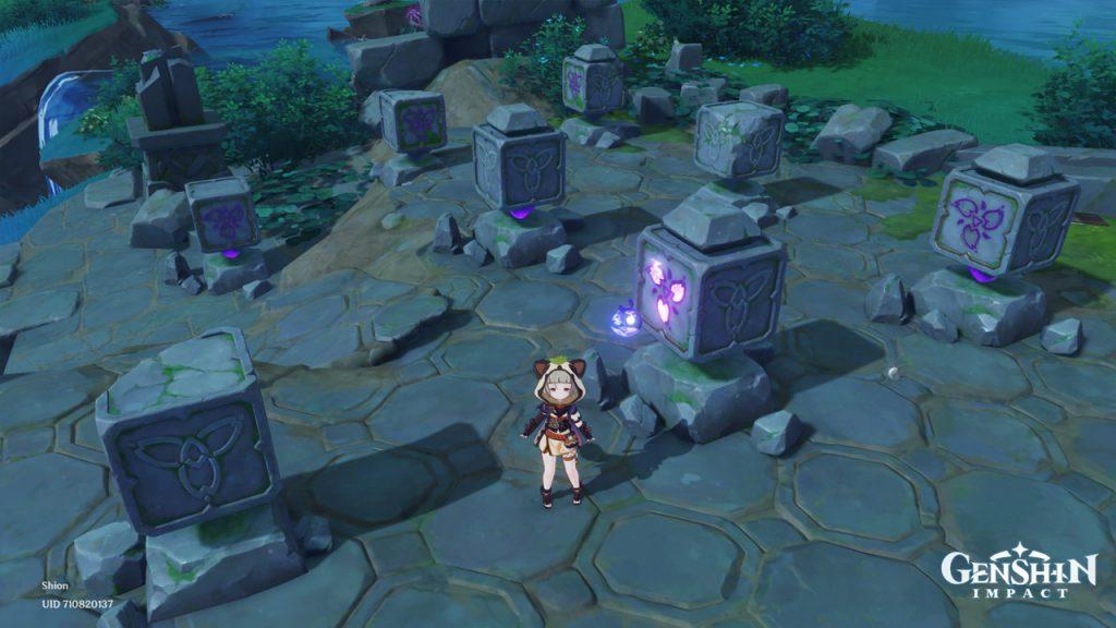 """Genshin-Impact-Watatsumi-Island-Cube-Puzzle-1_Ausgang """"class ="""" wp-image-719308 """"srcset ="""" https://images.mein-mmo.de/medien/2021/09/Genshin-Impact-Watatsumi- Island-Cube-Puzzle-1_Ausgang-1024x576.jpg 1024w, https://images.mein-mmo.de/medien/2021/09/Genshin-Impact-Watatsumi-Island-Cube-Puzzle-1_Ausgang-300x169.jpg 300w, https://images.mein-mmo.de/medien/2021/09/Genshin-Impact-Watatsumi-Island-Cube-Puzzle-1_Ausgang-150x84.jpg 150w, https://images.mein-mmo.de/medien /2021/09/Genshin-Impact-Watatsumi-Island-Cube-Puzzle-1_Ausgang-768x432.jpg 768w, https://images.mein-mmo.de/medien/2021/09/Genshin-Impact-Watatsumi-Island- Cube-Puzzle-1_Ausgang-780x438.jpg 780w, https://images.mein-mmo.de/medien/2021/09/Genshin-Impact-Watatsumi-Island-Cube-Puzzle-1_Ausgang.jpg 1280w """"tamaños ="""" ( max-width: 1024px) 100vw, 1024px """"> Punto de partida del primer rompecabezas     <p><strong>Solución para el primer rompecabezas:</strong> En primer lugar, puede asignar números a los cubos rotos. Si te paras frente al rompecabezas, comenzamos en la última fila:</p> <ul> <li>Fila de atrás: <ul> <li>Cubo en el medio = 3</li> </ul> <ul> <li>Dado derecho = 8</li> </ul> </li> <li>Fila del medio: <ul> <li>Falta el dado de la izquierda = 9</li> </ul> <ul> <li>Dados de la derecha = 1</li> </ul> </li> <li>Primera fila: <ul> <li>Dados izquierdos = 2</li> </ul> </li> </ul> <p>Ahora le faltan cuatro números que no asignó. Ahora se podría resolver esto de diferentes formas. Comenzamos con el resultado más alto de los números dados: 11. Agregamos el número más pequeño disponible a esto: 4. La suma de esto es 15. </p> <p>Puede usar esto para calcular con los números restantes vertical, horizontal y diagonalmente si el total es 15 en todas partes. Si comenzamos de nuevo en la última fila, podemos dibujar la siguiente solución:</p> <ul> <li>Fila de atrás: <ul> <li>Dado izquierdo = 4 (oeste)</li> <li>Cubo en el medio = 3 (sur)</li> <li>Dados a la derecha = 8 (oeste)</li> </ul> </li> <li>Fila del medio: <ul> <li>F"""