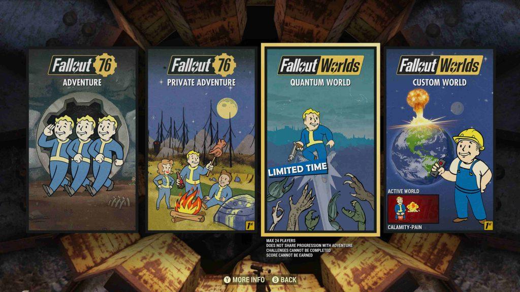 Modos de Fallout 76 Worlds