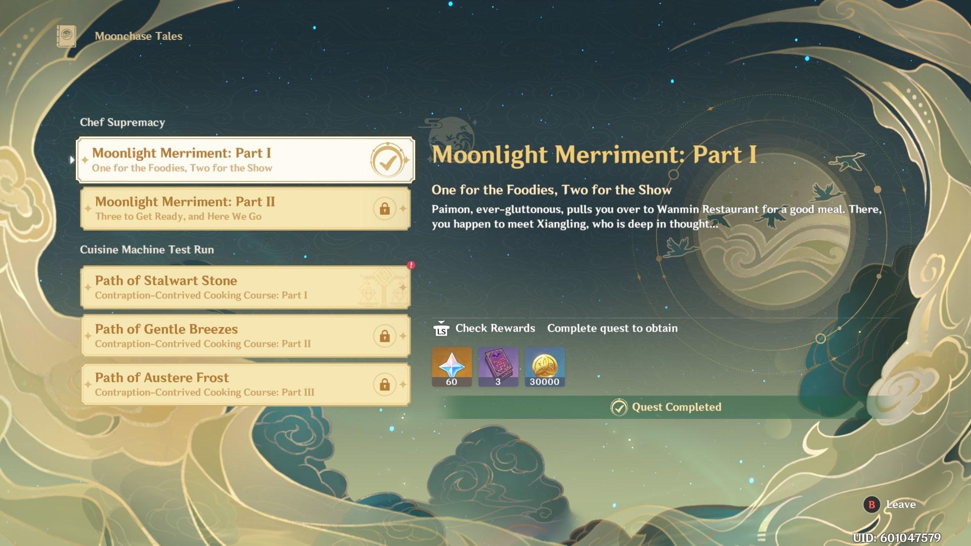 Genshin Impact Moonlight Merriment Quests fiebre festiva