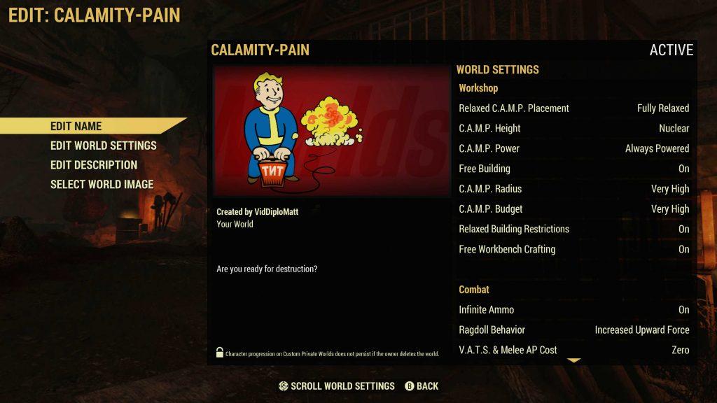 Fallout 76 Worlds - Configuración del mundo