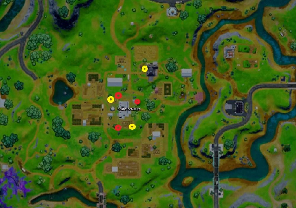 ubicaciones de kits de misiones fortnite, ubicaciones de fortnite jammer