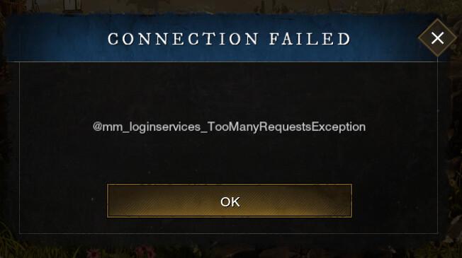 Error de excepción de New World Too Many Requests