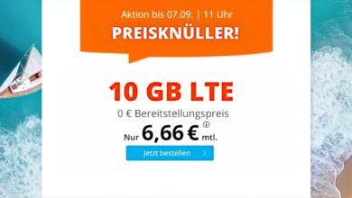 Volumen de datos LTE de 10 GB actualmente por solo 6,66 euros al mes en Sim.de.